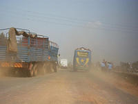 Dusty highway on the way to Kikule (near Thika)